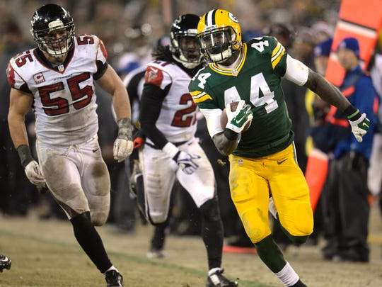 Packers running back James Starks surpassed 100 total yards for the first time this season against the Falcons.