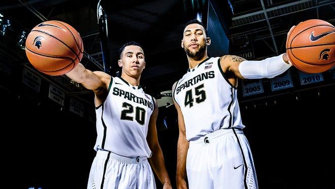 Travis Trice (left) and Denzel Valentine during MSU men's basketball media day Oct. 28.