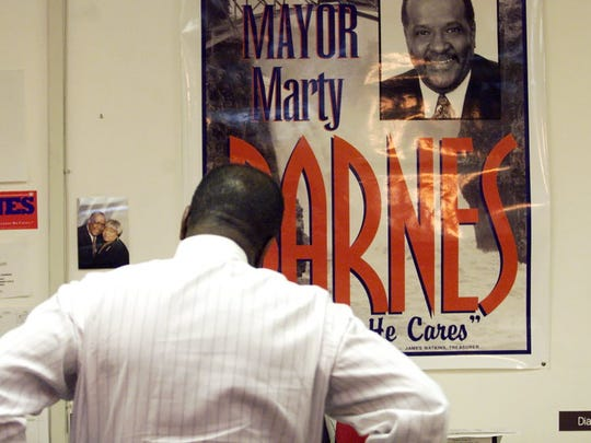 Martin G. Barnes reacting to early results in his 2002 mayoral election loss to Joey Torres. Barnes was under indictment at the time.