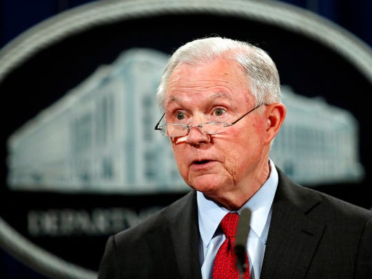 In this Dec. 15, 2017, Associated Press file photo, United States Attorney General Jeff Sessions speaks during a news conference at the Justice Department in Washington. Attorney General Jeff Sessions is going after legalized marijuana. Sessions is rescinding a policy that had let legalized marijuana flourish without federal intervention across the country.  That's according to two people with direct knowledge of the decision.