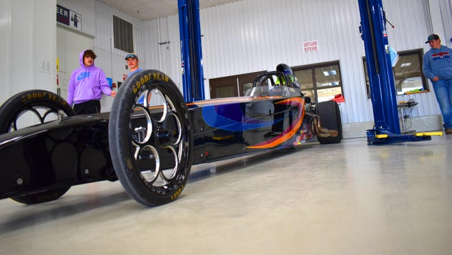 A dragster on display at Southern Tech on Thursday. An annual event with Ardmore Dragway has been giving young racers more information about racing safely.