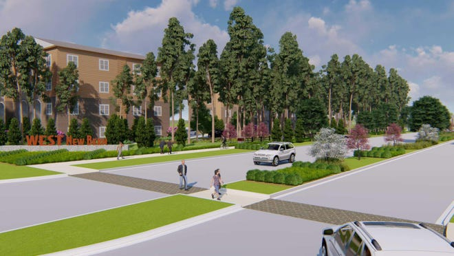 An artist's rendering shows an apartment complex and street walkway planned for West New Bern, Weyerhaeuser's mixed-use community under construction near N.C. 43 and U.S. 70.