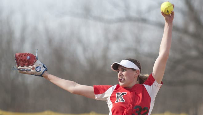 Kingsway's Grace Fagan delivers a pitch during Wednesdays softball game between Kingsway and GCIT played at Bankbridge Regional High School.