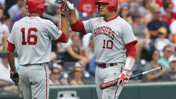 Kyle Schwarber (10) homered Sunday, and drove in two runs, as Indiana defeated Nebraska 8-4 to win a second-consecutive Big Ten tournament title.