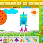 """Kids using """"Easy Studio, Animate with Shapes!"""" learn to make stop-motion films by building the characters and objects from geometric shapes and then manipulating them frame-by-frame to create animation."""