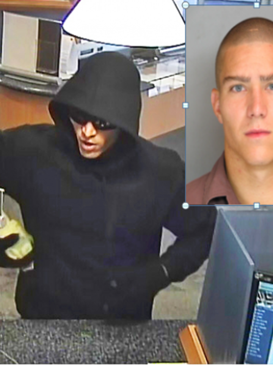 This security camera image shows a man, now identified as 24-year-old Earl Frankin Miller of Lebanon (right), robbing the Susquehanna Bank in Ephrata Borough on Sept. 30. Miller was arrested by borough police on Tuesday.