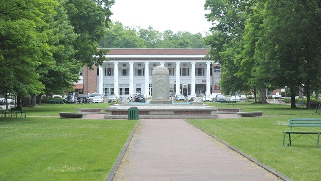 This is a view of the Bestor Plaza at Chautauqua Institution in Chautauqua N.Y. in 2016.
