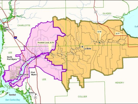 This map shows lands that drain into the Caloosahatchee
