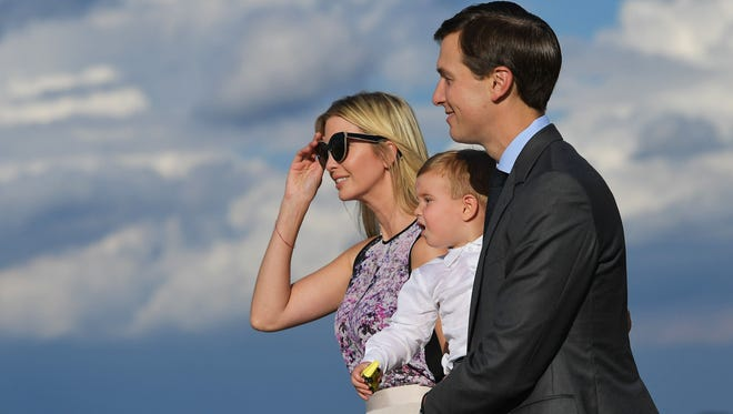 Ivanka Trump and husband Jared Kushner step off Air Force One with son Theodore on Sept. 15.  The first daughter says she suffered postpartum depression after all three of her kids' births.