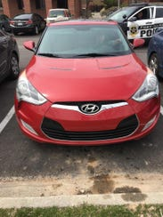 Andrew Varela's vehicle, a red Hyundai Veloster