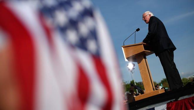 Sen. Bernie Sanders, I-Vt., kicks off his presidential campaign at Waterfront Park on May 26, 2015, in Burlington, Vt.