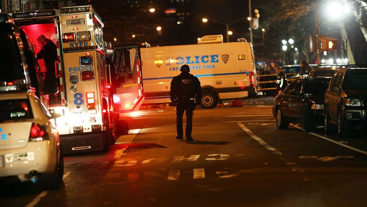 The scene at a shooting where two New York City police