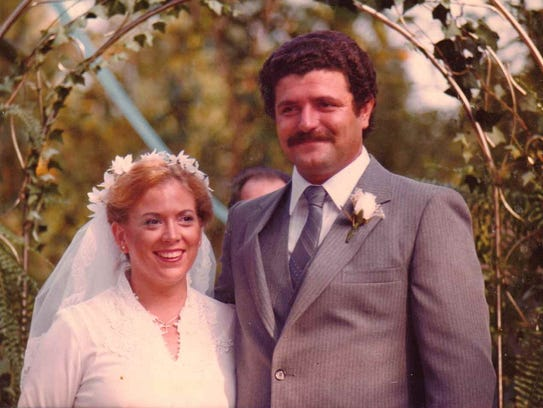 Stavros Varvouris and his wife, Tina, on their wedding