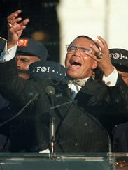 In this Oct. 16, 1995, Nation of Islam leader Louis