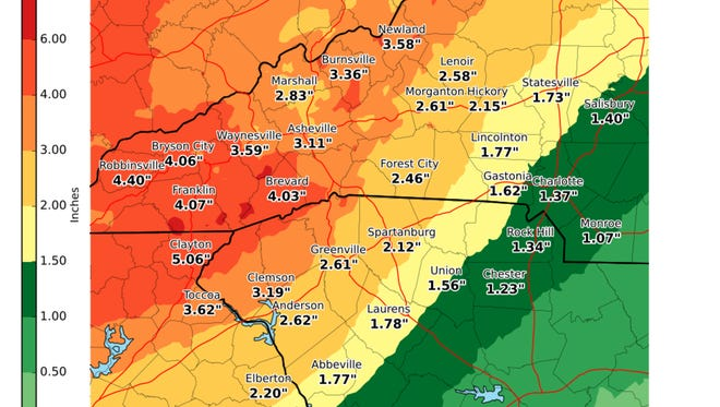 The National Weather Service predicts 2 to 3 inches of rain for much of the Upstate from Monday night through Wednesday.