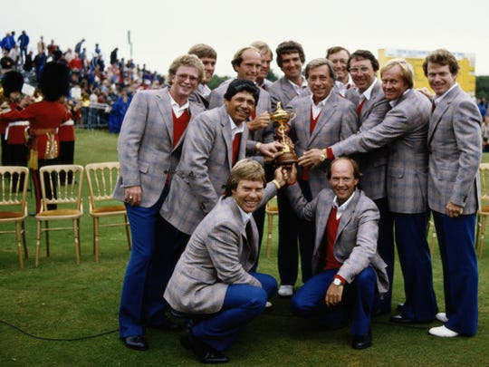 Dave Marr,Lee Trevino,Tom Kite, Bill Rogers, Larry Nelson, Ben Crenshaw, Bruce Lietzke,Jerry Pate, Hale Irwin, Johnny Miller,Tom Watson, Raymond Floyd and Jack Nicklaus of the United States team with the Ryder Cup trophy during the  24th Ryder Cup Matches on 27 September 1981 at Walton Heath Golf Club in Walton-on-the-Hill, Surrey, England, 1981. (Photo by photographer Bob Martin/Getty Images)