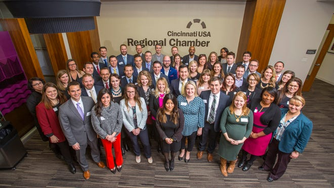 Members of the 2018 class for C-Change, a program for young leaders run by the Cincinnati USA Regional Chamber.