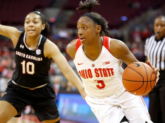 Ohio State Buckeyes guard Kelsey Mitchell (3) drives past South Carolina Gamecocks guard Allisha Gray (10) during the first half at Value City Arena.