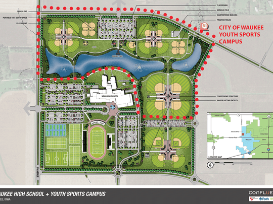 Waukee's second high school would sit on 100 acres of land north of Hickman Road and east of 10th Street. Another 60 acres will house a youth sports complex built by the city.