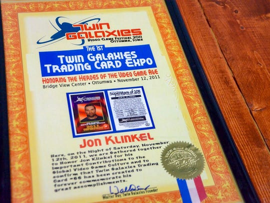 Twin Galaxies made a trading card for Jon Klinkel after