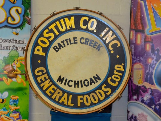 The Regional History Museum Battle Creek's cereal exhibit will run until around September 2018. Included in the exhibit is the drum from the 1920s Post Band.