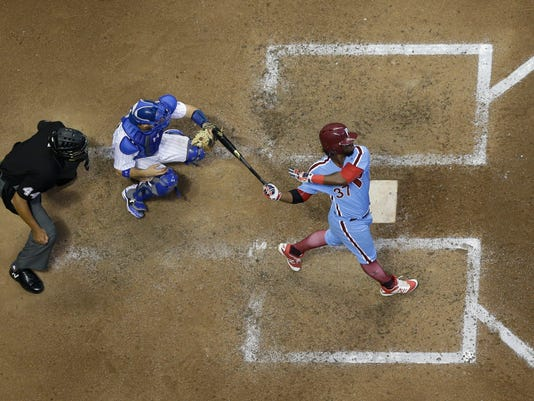 Philadelphia Phillies' Odubel Herrera hits a home run during the seventh inning of a baseball game against the Milwaukee Brewers Saturday, July 15, 2017, in Milwaukee. (AP Photo/Morry Gash)