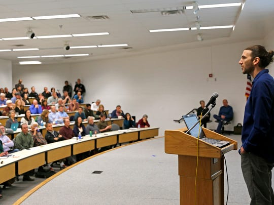 Eric Kort, speaks to attendees at a Four Corners Public Science Forum on Methane at San Juan College on April 17.