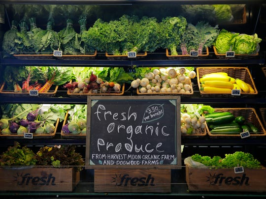 Fresh vegetables produced by the property's two tenant farmers, Harvest Moon Farm and Dogwood Farms, are available for sale in the Cafe Market inside the Farm Barn Cafe at Duke Farms in Hillsborough.