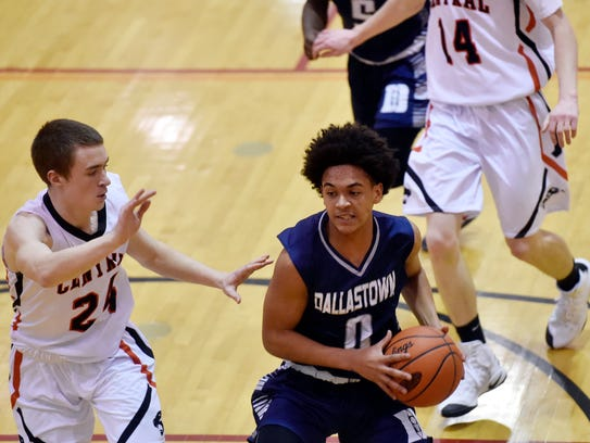 Dallastown's Braden Caldwell drives against Central