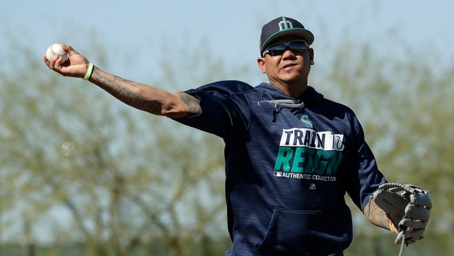 Mariners ace Felix Hernandez made his spring debut Tuesday, allowing three hits and one run in two innings.