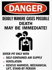 Signs warn farm workers of the dangers of manure gas