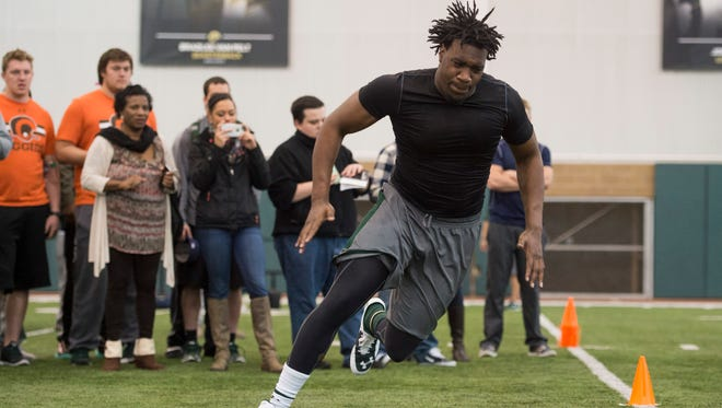 Former CSU defensive end  Martavius Foster participates in a drill during the Rams' pro day March 9. Foster said on Twitter that he's been invited to a rookie minicamp this week with the Tampa Bay Buccaneers.