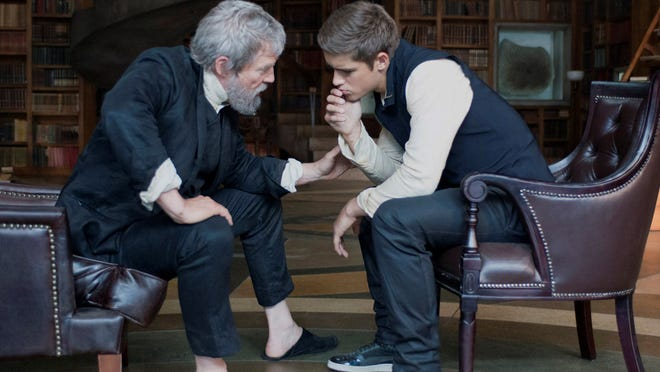 """This image released by The Weinstein Company shows Jeff Bridges, left, and Brenton Thwaites in a scene from """"The Giver."""" (AP Photo/ The Weinstein Company)"""
