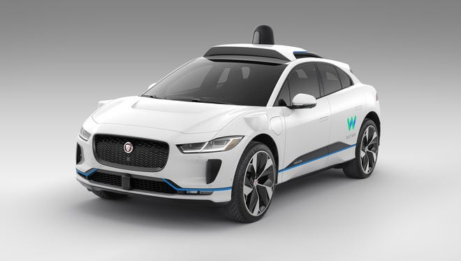 A Jaguar I-Pace electric SUV outfitted for service for Waymo's self-driving service
