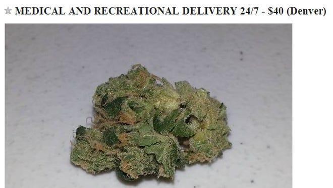 A screenshot of a craigslist advertisement for marijuana in Colorado.