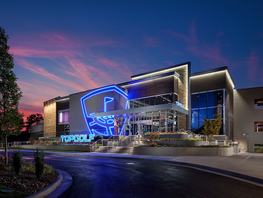 A view of the Atlanta Topgolf location from the outside.