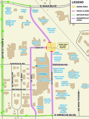 This map depicts the Hickory Street-Oak Street road closure area.