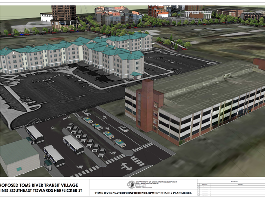 "A rendering of a proposed ""transit village"" at the site of the Toms River bus station."