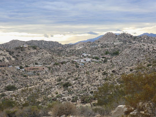 Large homes amongst the boulders in Yucca Valley, September