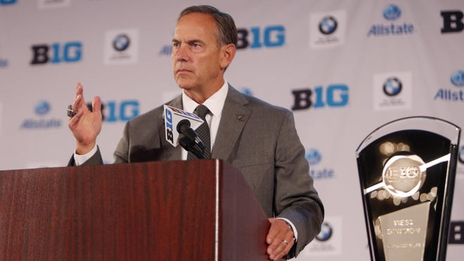 Jul 28, 2014; Chicago, IL, USA; Michigan State Spartans head coach Mark Dantonio addresses the media during the Big Ten football media day at Hilton Chicago. Mandatory Credit: Jerry Lai-USA TODAY Sports