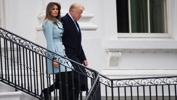 President Trump and first lady Melania Trump participate in the White House Easter Egg Roll on April 2, 2018.