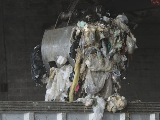 Garbage is shown at the Waste Management Inc. transfer