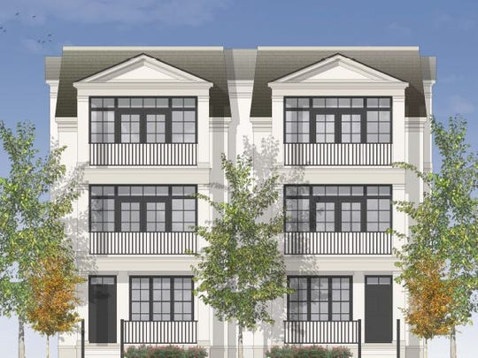 A rendering shows high-end town homes Regent Homes