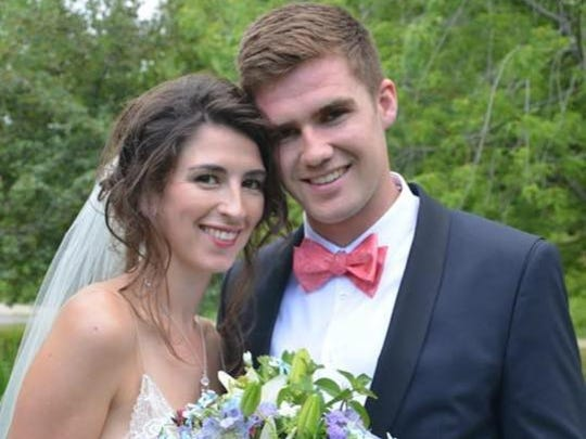 MSU senior defenseman Travis Walsh and his wife, Chelsea, got married July 25 in Surry, Maine.
