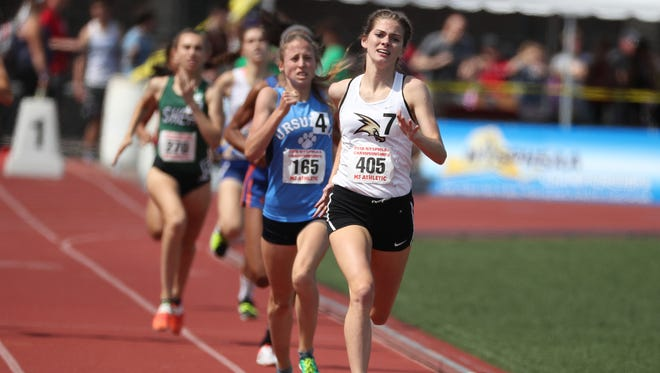 Corning's Lindsey Butler competes in the 800 meters at the New York State Public High School Athletic Association Track and Field Championships on Friday at Cicero-North Syracuse High School.