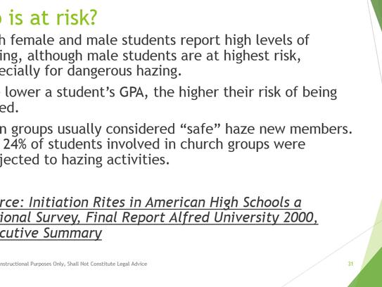 Slide 31 of 126-slide presentation on hazing, harassment