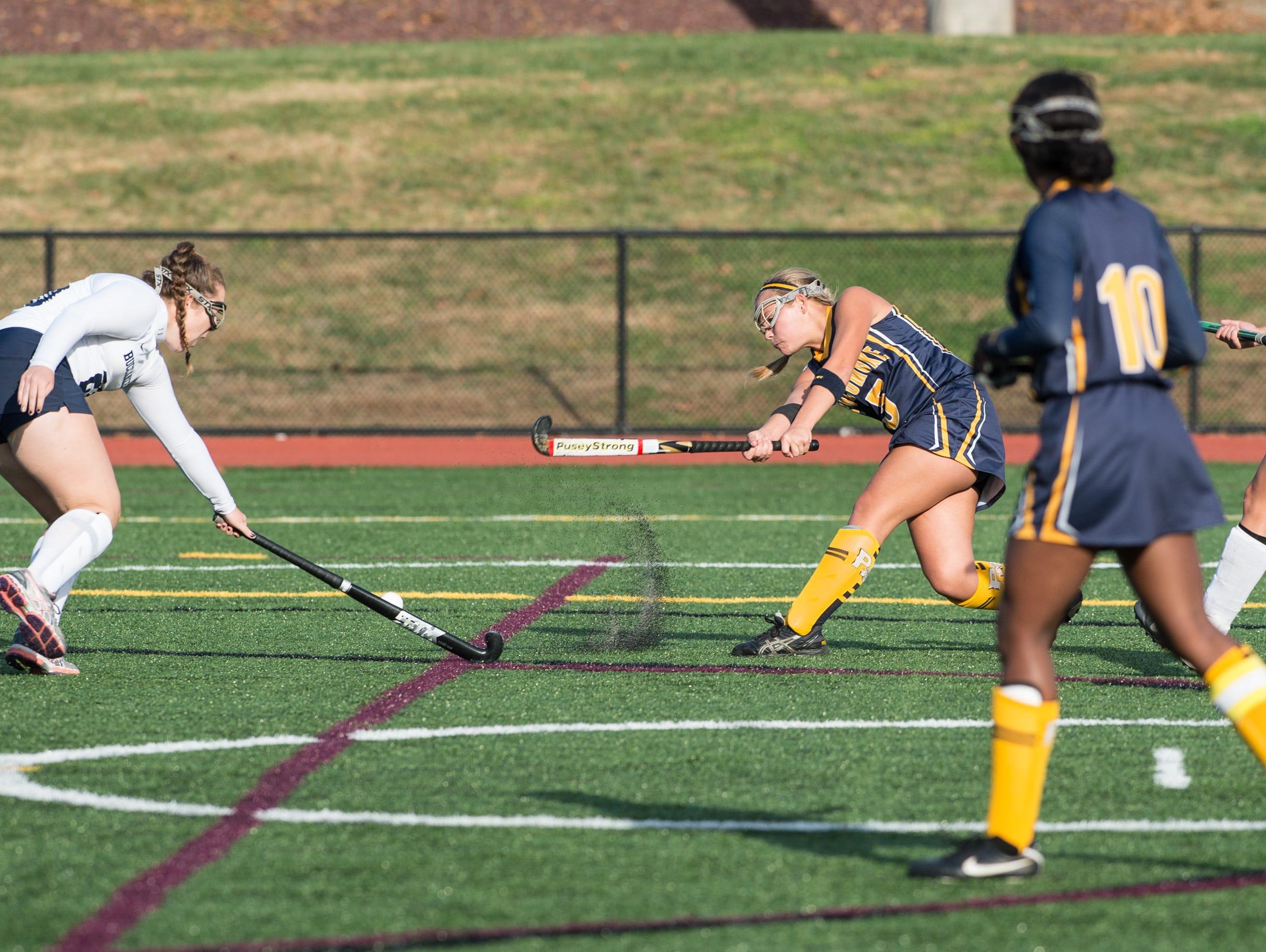 Pocomoke's McKenzie Mitchell takes a shot on goal.