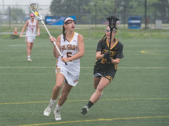 Salisbury University's Gabbi Nieves makes a move as Colorado College's Natalie Shishido attempts to defend on Saturday, May 21, 2016.