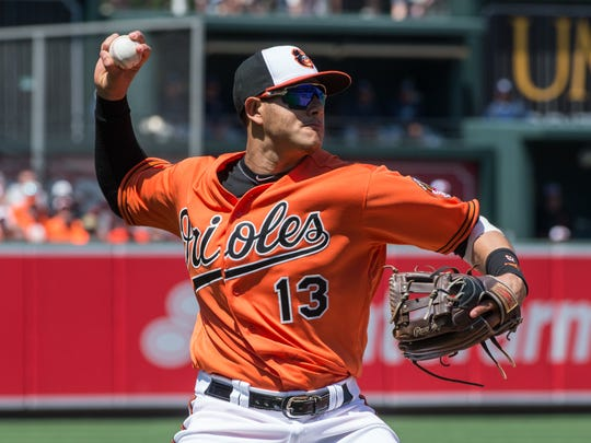 Orioles third baseman Manny Machado throws the ball to first base during a game against the Tampa Bay Rays on Saturday, June 25, 2016.