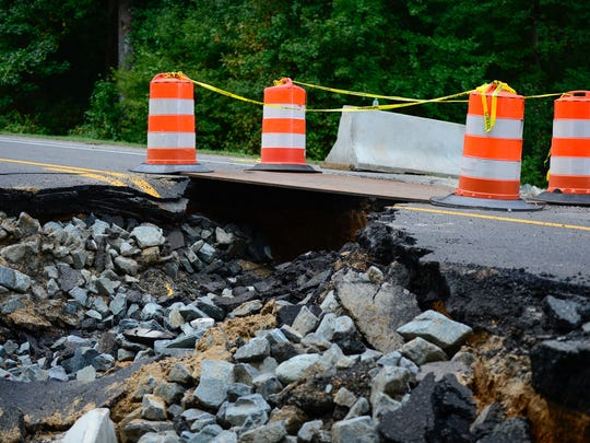 Route 12 between Mount Olive Church Road and West Hills Drive has washed out due to the rain last week. The road is closed to traffic Monday, Oct. 3, 2016.